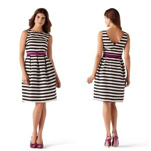 WHBM Striped Belted Sleeveless Fit and Flare Dress
